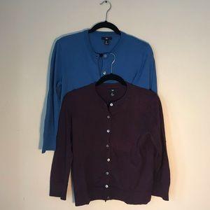Two cotton cardigans | purple & blue